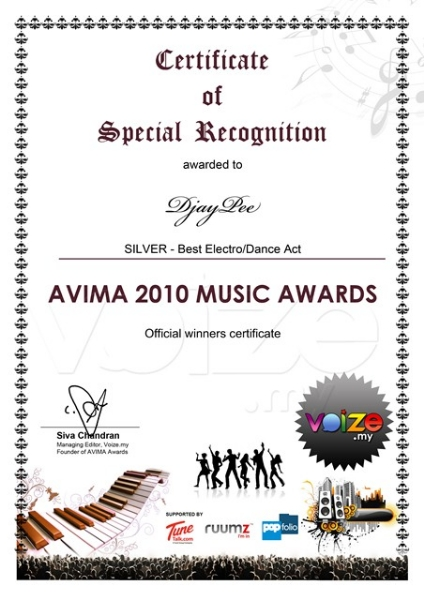 JP Best Electro-Dance Act silver award AVIMA 2010