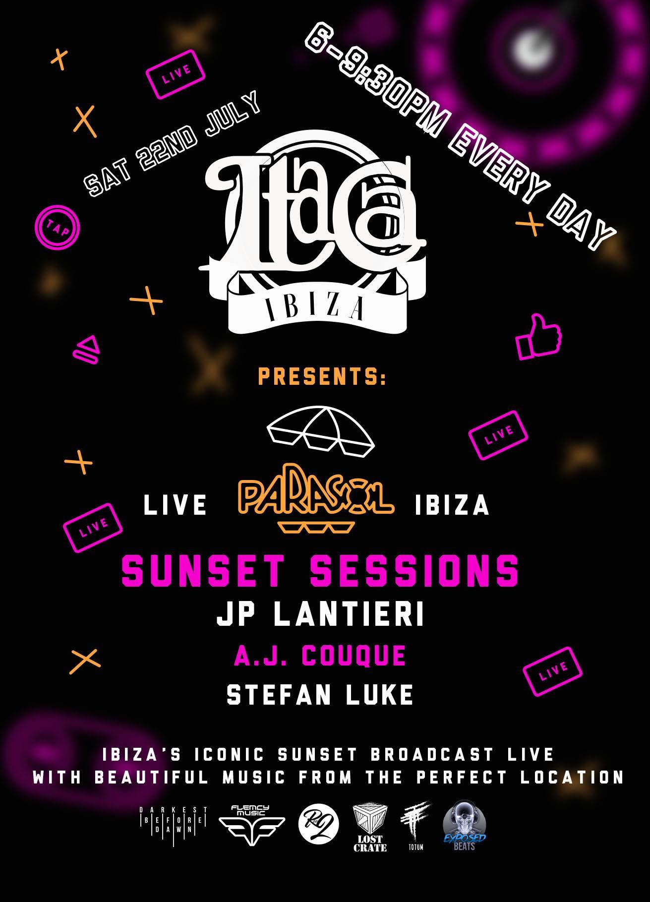 Parasol Ibiza tour 22Jul Itaca sunset sessions